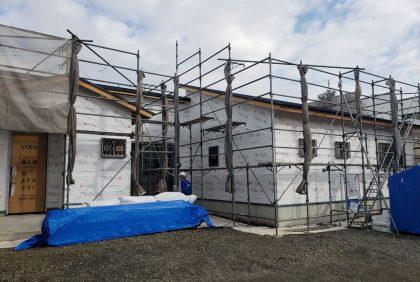 熊本県上益城郡N様邸、外壁工事始まりました。