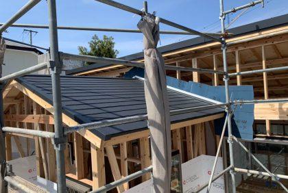 熊本県上益城郡N様邸、屋根工事始まりました。