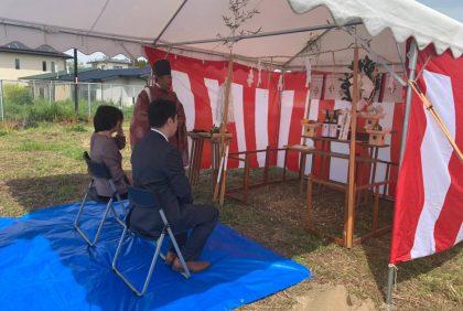 熊本県菊池市Y様邸、地鎮祭の様子です。