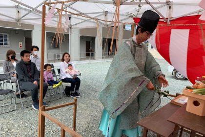 熊本県宇城市松橋町N様邸、地鎮祭を行いました。