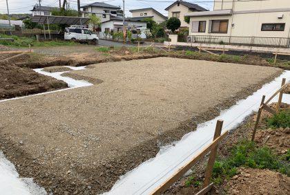 熊本県上益城郡御船町K様邸、基礎工事始まりました。