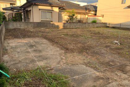 熊本県宇土市Y様邸、地縄張りを行いました。